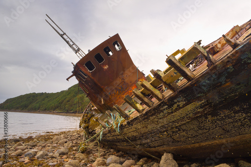 Photo Stands Shipwreck Fishing boat wreck close up
