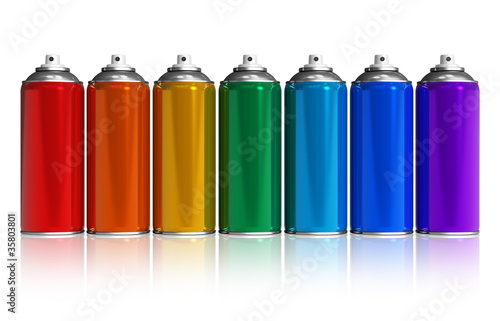 Photo Set of rainbow paint spray cans