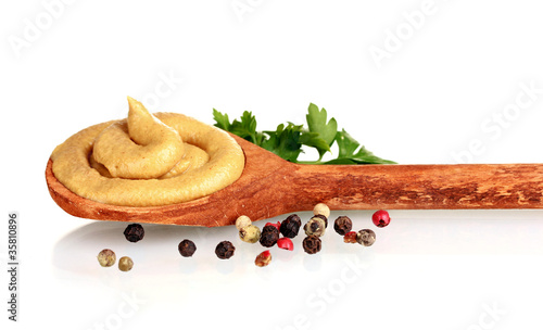 Foto op Canvas Kruiden 2 Mustard in wooden spoon, spices and parsley isolated on white