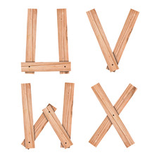 Alphabet Letter U,V,W,X From Wood Board With Clipping Path
