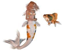 Koi Pattern Mermaid And Goldfish