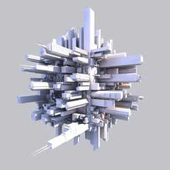 3d futurist city with buildings