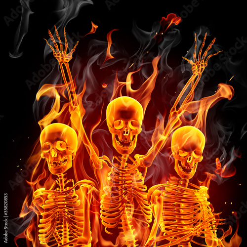 Poster Flamme Fire skeletons