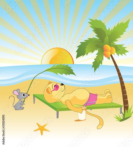 Deurstickers Katten cat with a mouse rest on the beach by the sea