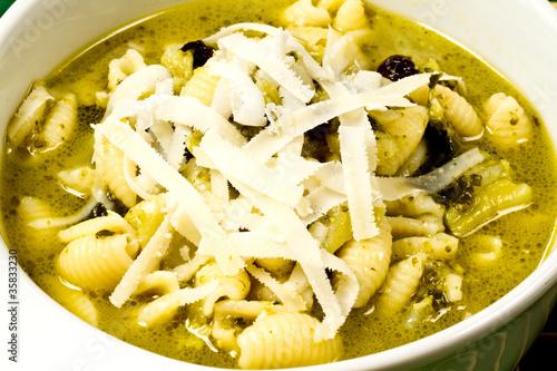 pasta con asparagi uva passa e formaggio - Buy this stock