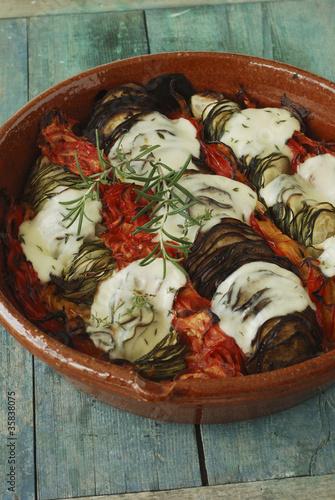 Tian de légumes à la mozarella et au romarin Wallpaper Mural