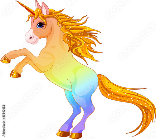 Deurstickers Pony Rainbow colored unicorn
