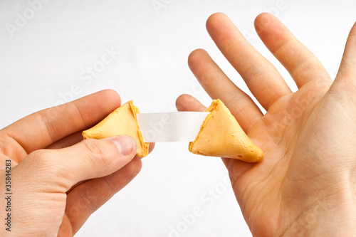 Valokuva  Hand gesture reaction as blank fortune is discovered