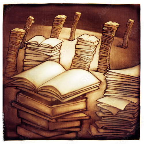 imaginative landscape with stacks of books, metaphor