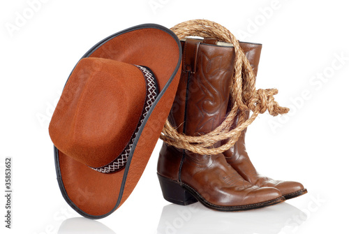 Valokuva  cowboy boots hat and lasso