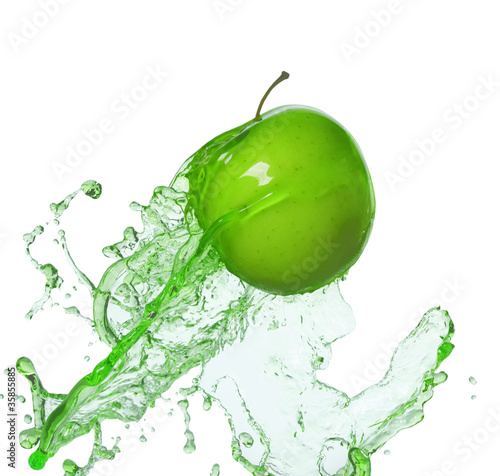 Poster Eclaboussures d eau apple in stream