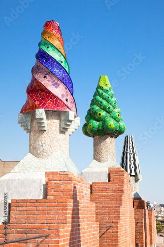 Photo  The mosaic chimneys made of broken ceramic tiles