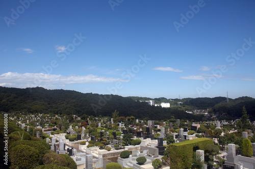 Foto op Plexiglas Begraafplaats 青空の墓地