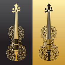 Abstract Violin And Musical Symbols Gold&black