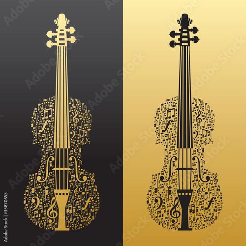 Obraz na plátně Abstract violin and musical symbols gold&black