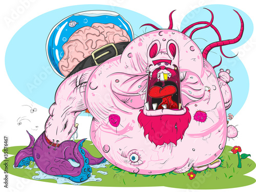 Deurstickers Schepselen Pink monster