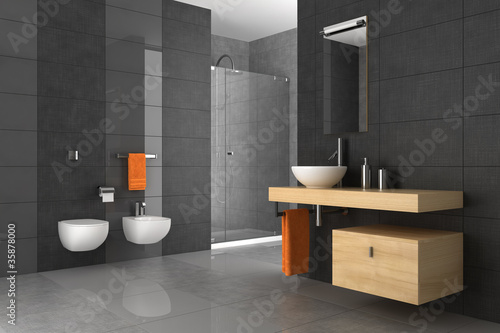 Fotografia, Obraz  tiled bathroom with wood furniture