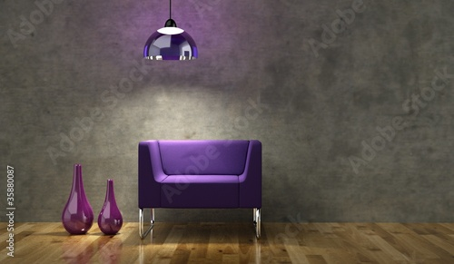 Wohndesign - Lila beleuchteter Sessel