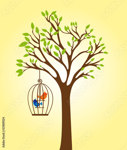 Poster Birds in cages tree with cage