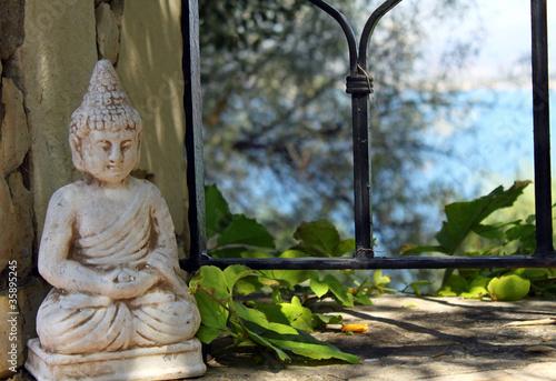 Doppelrollo mit Motiv - Buddha-Figur (von Carmen 56)