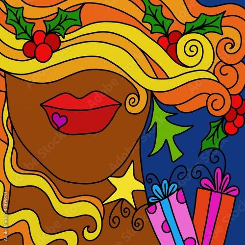 Foto op Canvas Klassieke abstractie Christmas abstract face