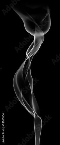 Fotografering  Volute de fumée blanche sur fond noir 3