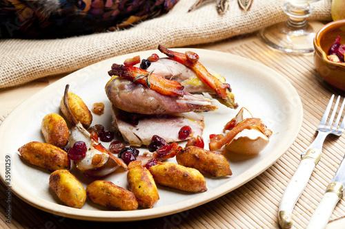 Aluminium Prints Assortment baked pheasant with bacon, pear, raisins on brandy