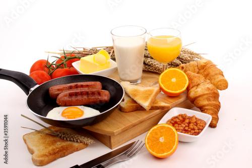 Breakfast on a white background © Joop Hoek