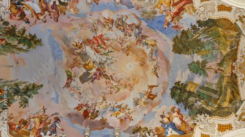Fotografie, Obraz  Frescos at Baroque Church