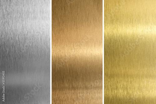 Türaufkleber Metall Aluminum, bronze and brass stitched textures