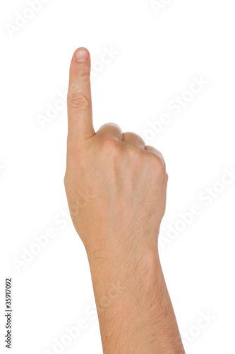 Foto  Hand mit dem Zeigefinger, getrennt auf einem weißen Hintergrund