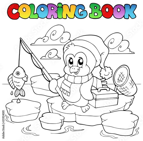 Spoed Foto op Canvas Doe het zelf Coloring book fishing penguin