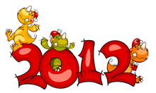 New Year's Border In 2012 With The Cheerful Dragon