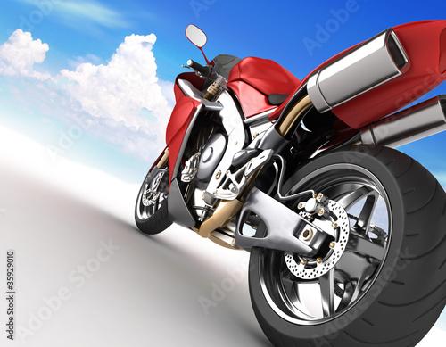 Poster Motocyclette Bolide rosso su sfondo bianco e cielo all'orizzonte