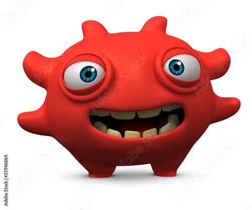 Poster de jardin Doux monstres happy red virus