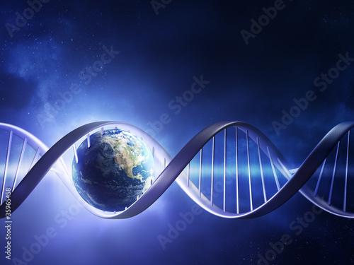 fototapeta na ścianę Świecące nici DNA ziemi