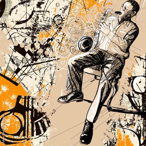 In de dag Muziekband saxophonist on a grunge background