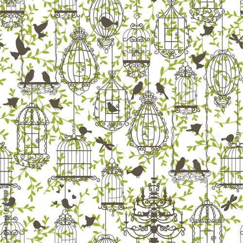 In de dag Vogels in kooien Birds and cages vintage pattern