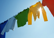 Colorful Clothes On A Laundry ...