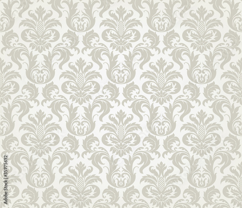 Vector seamless floral damask pattern Canvas Print