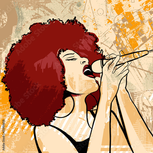 Tuinposter Muziekband jazz singer on grunge background