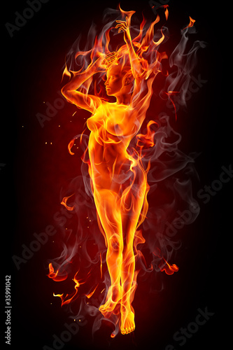 Recess Fitting Flame Dancing fire girl