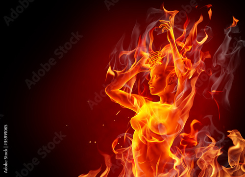 Poster Flamme Dancing fire girl