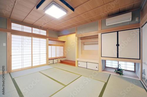 神棚と床の間のある和室1-1 Canvas Print