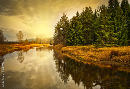 Printed kitchen splashbacks River river at the sunset time