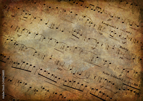 Fotografie, Obraz  Musical score with texture grunge