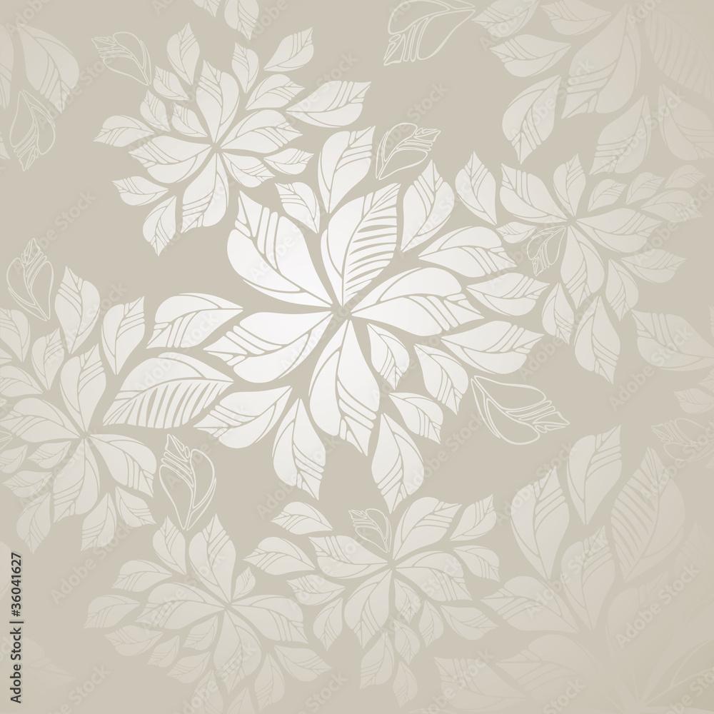 Seamless silver leaves wallpaper