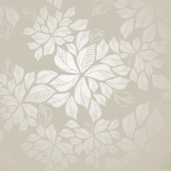 Obraz na Szkle Seamless silver leaves wallpaper
