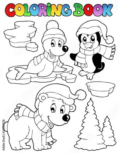 Tuinposter Doe het zelf Coloring book wintertime animals 2