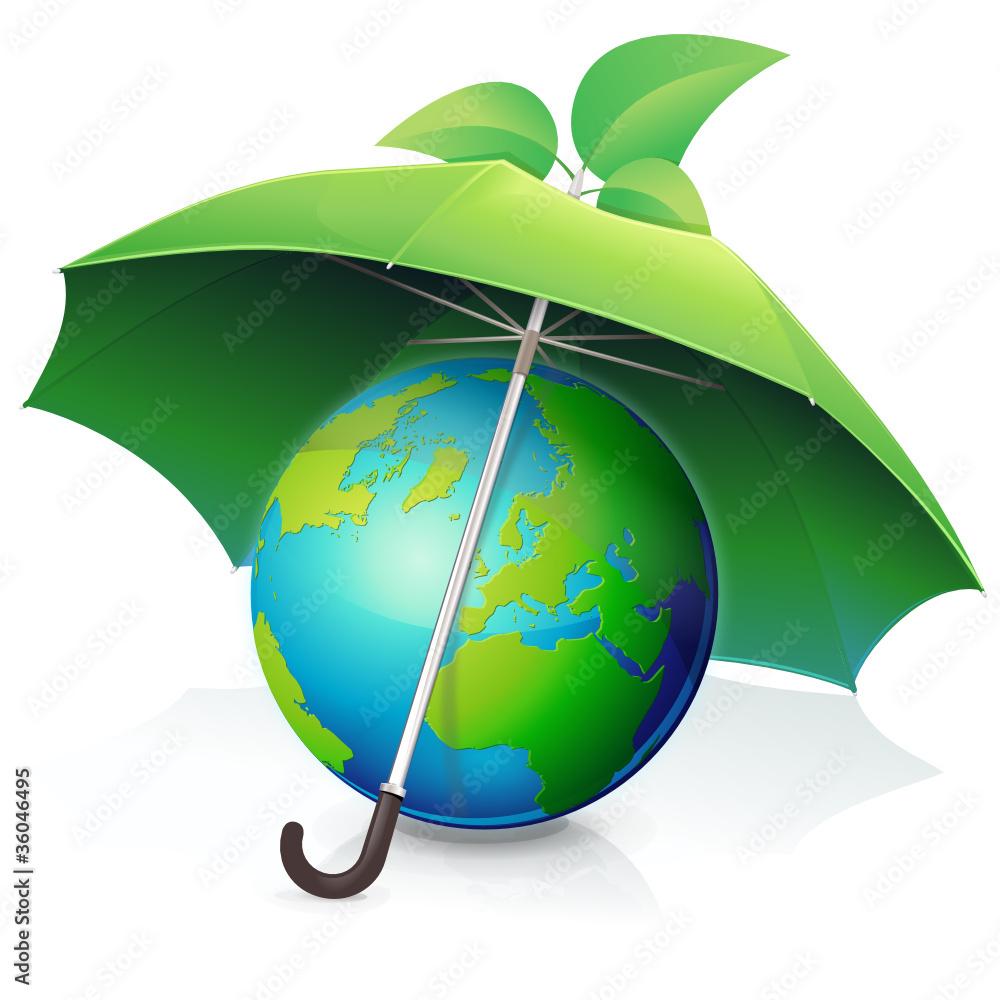Fototapety, obrazy: Protéger la terre !! (parapluie vert)